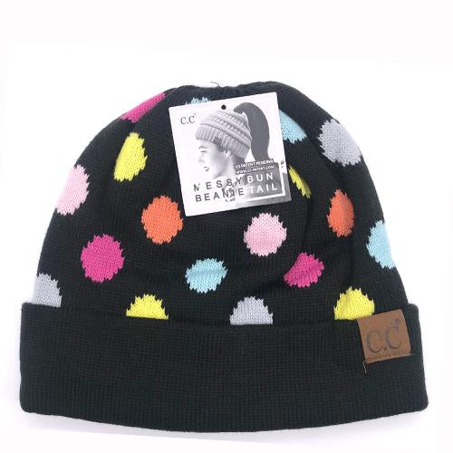 PD-MB-22 Messy Bun Beanie Black Multi Dot