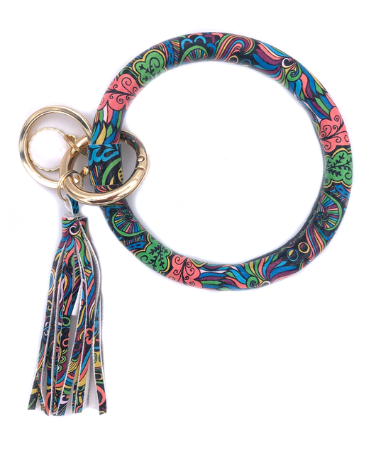 KC-8845 Peach Green Feather Key Chain