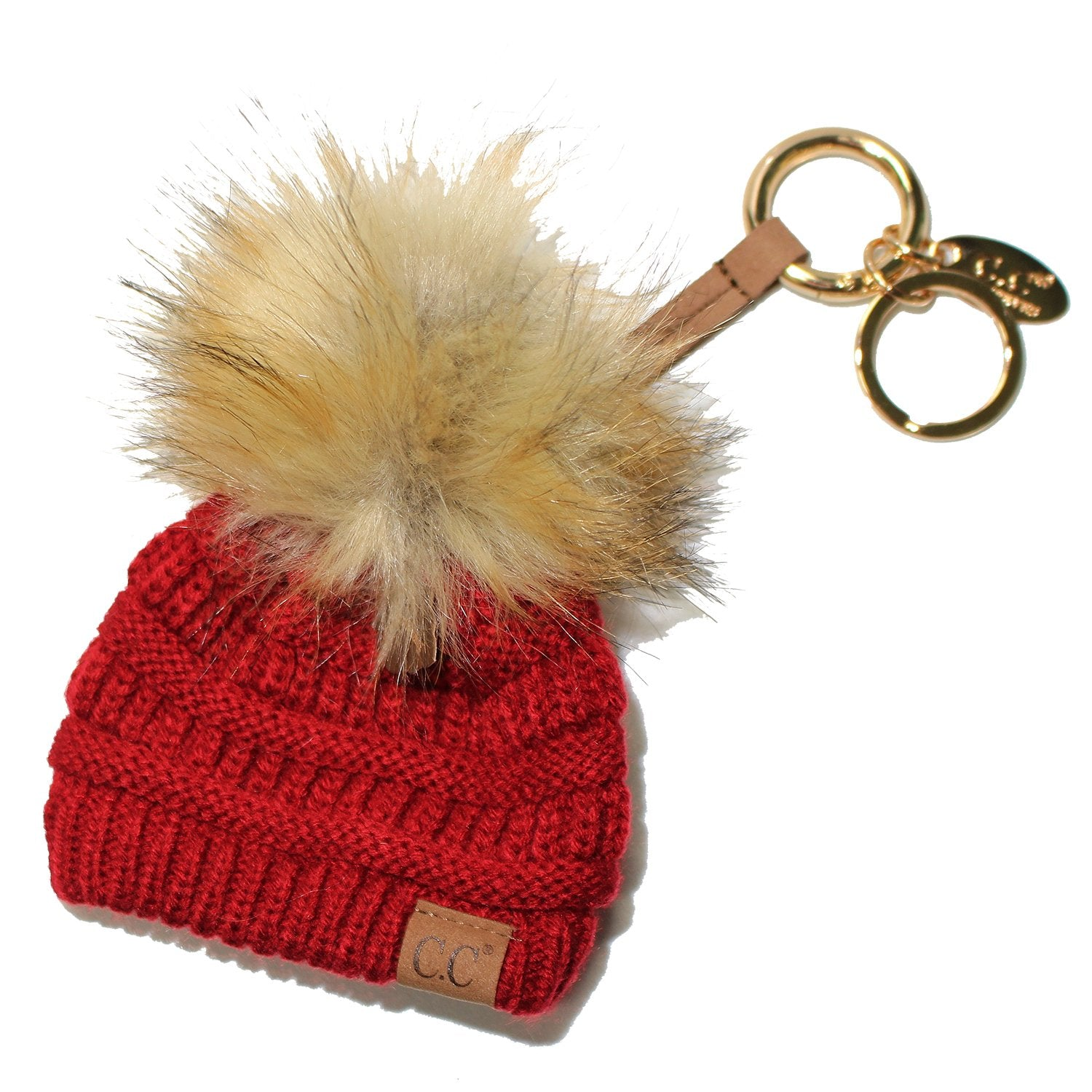KB-43 Keychain W/FAUX FUR POM -Red
