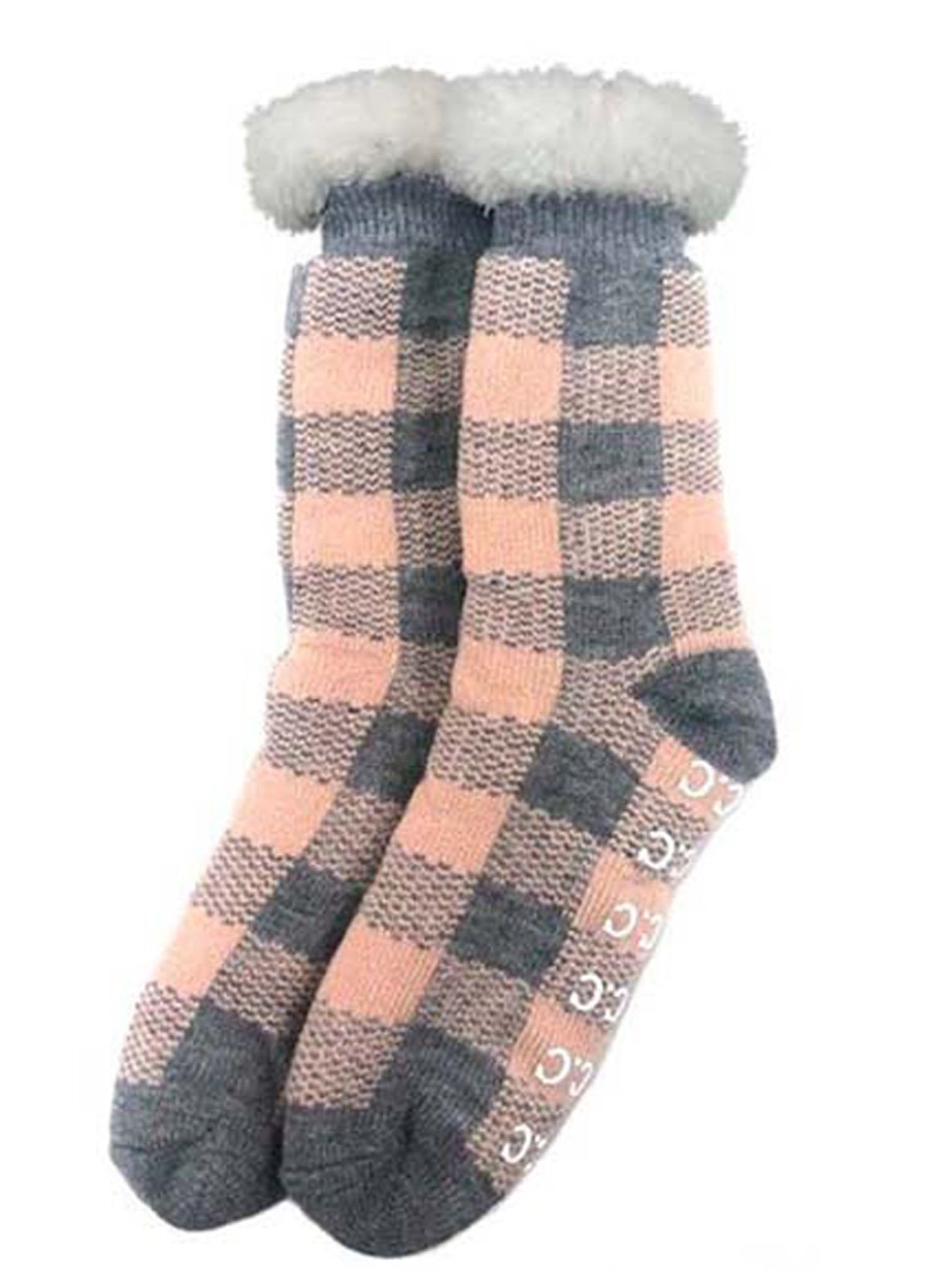 SL-25 C.C Sherpa Socks Buffalo Plaid Grey/Indi Pink