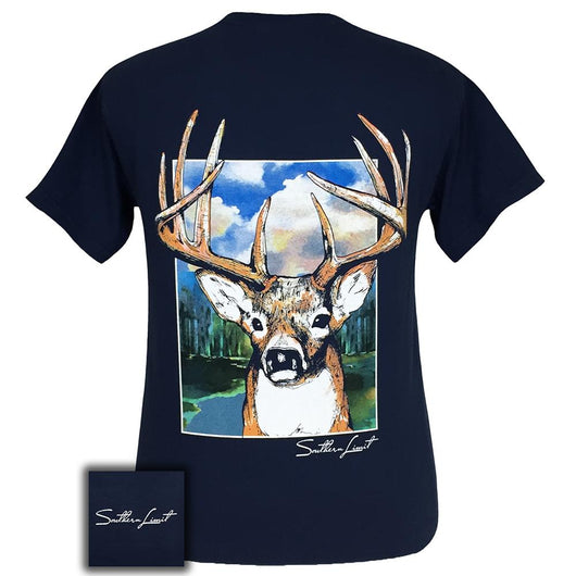 Southern Limit Buck Comfort Color Navy Short Sleeve