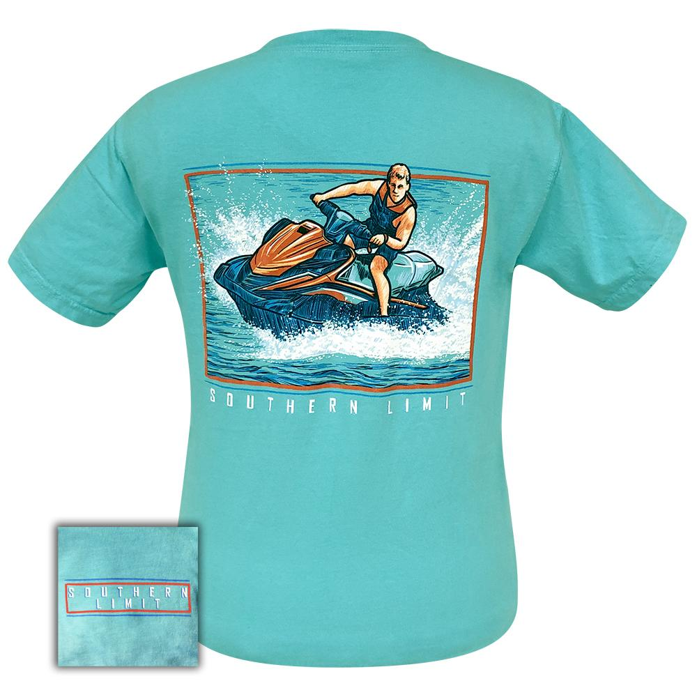 Southern Limit Jet Ski Comfort Color Lagoon Blue 52 Short Sleeve