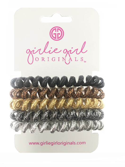 TC-MET-3 GLD/BRZ/BRN Telephone Cord Hair Ties