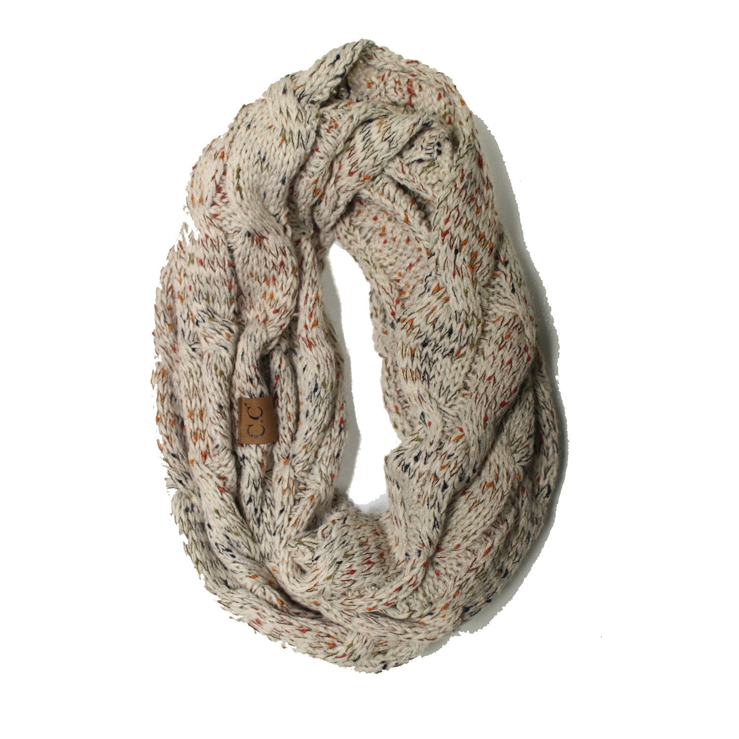 SF33-Oatmeal Speckled Infinity Scarf