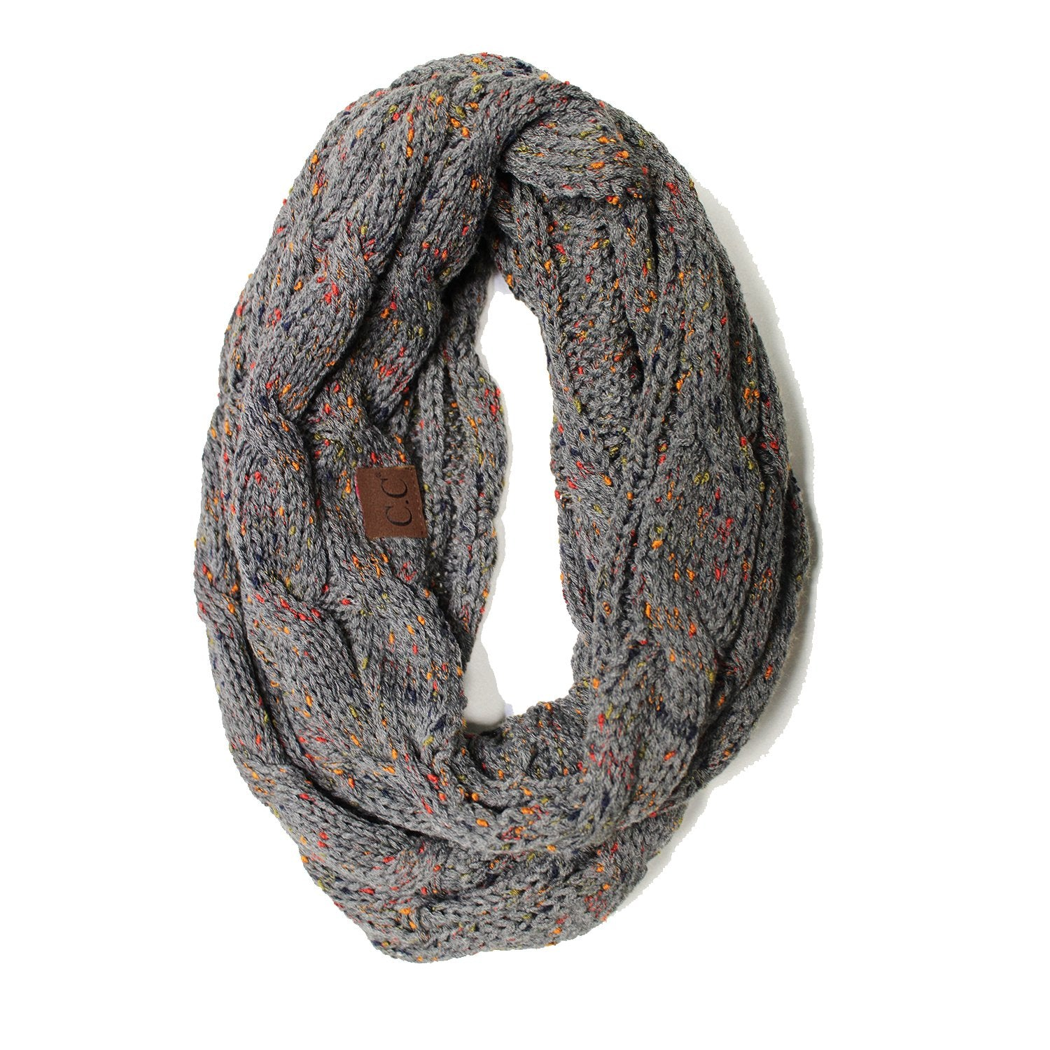 SF33-Dark Gray Speckled Infinity Scarf