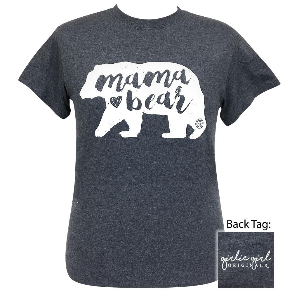Front view of women's short sleeve shirt in heather navy with white image of a bear and the words