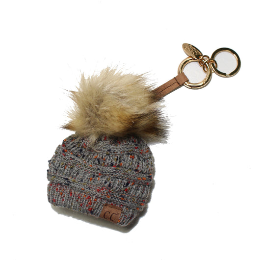 KB-33 Natural Grey Speckled Beanie Keychain