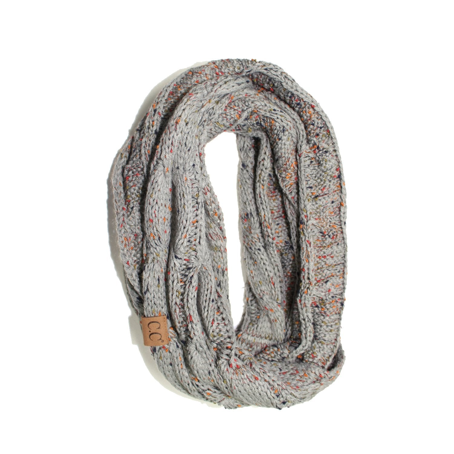 SF33-Natural Gray Speckled Infinity Scarf