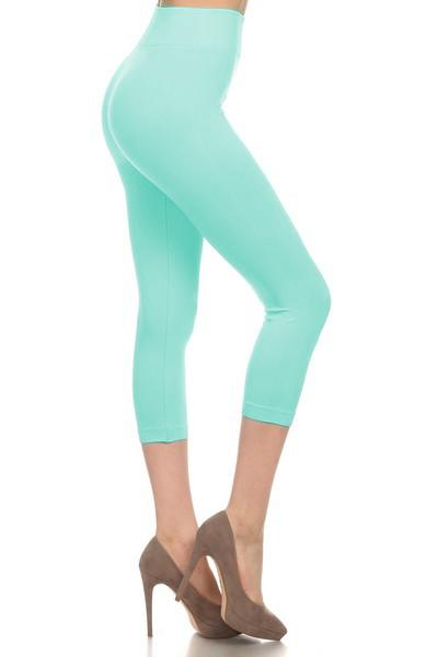 Mint Solid Color Capri Leggings