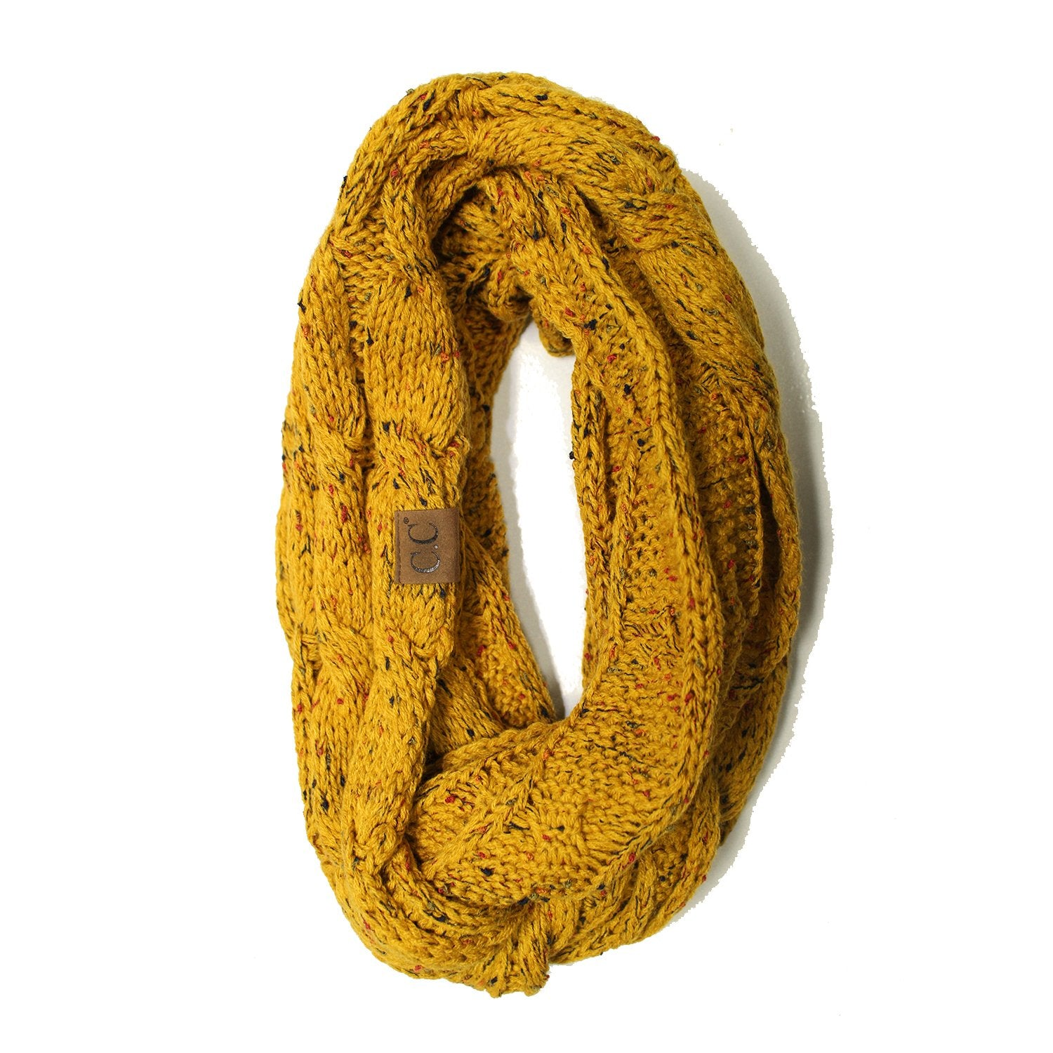 SF33-Mustard Speckled Infinity Scarf