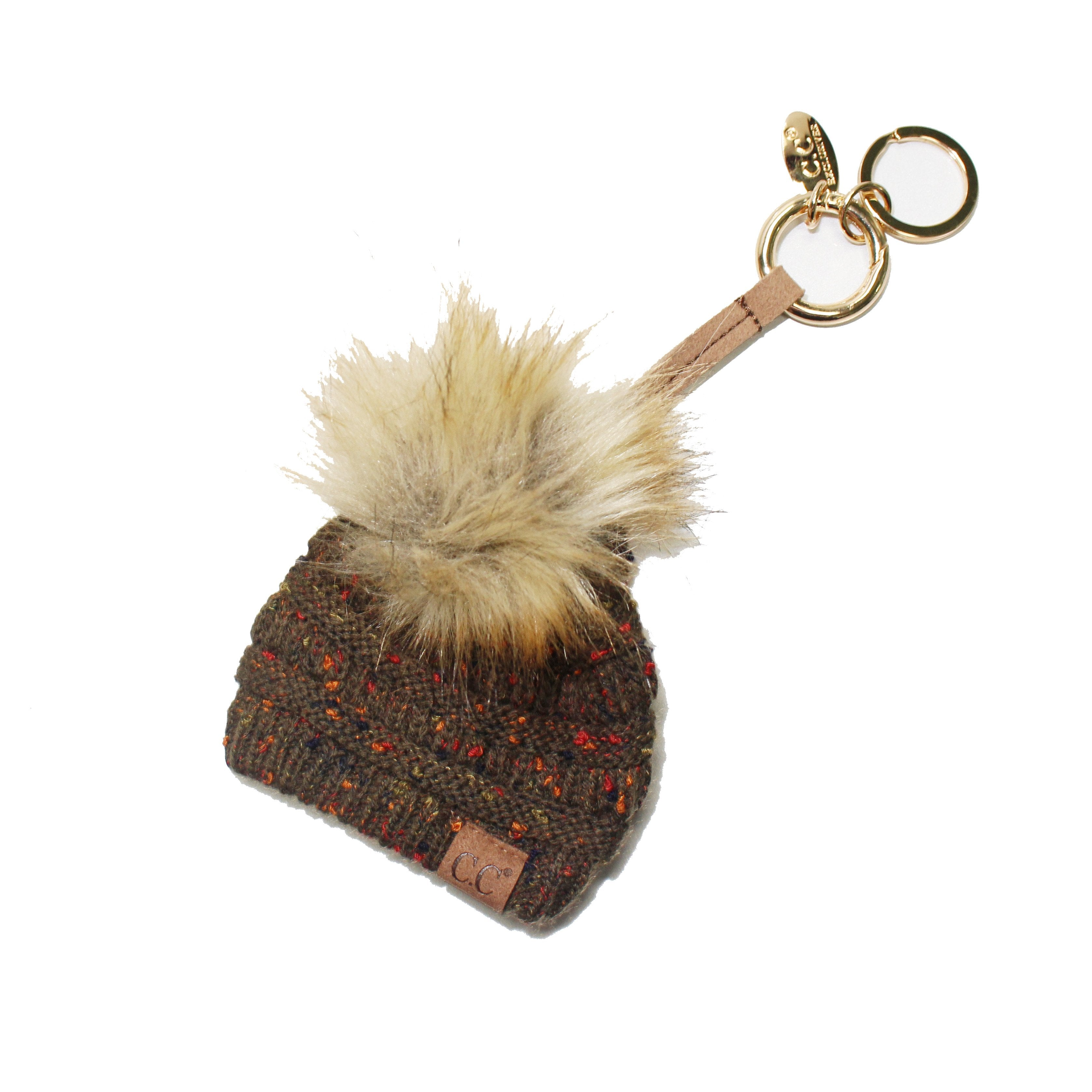 KB-33 New Olive Speckled Beanie Keychain