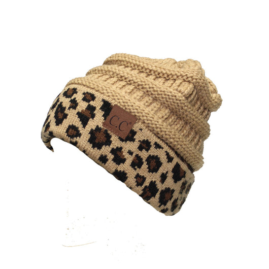HAT-45 Camel Leopard Beanie