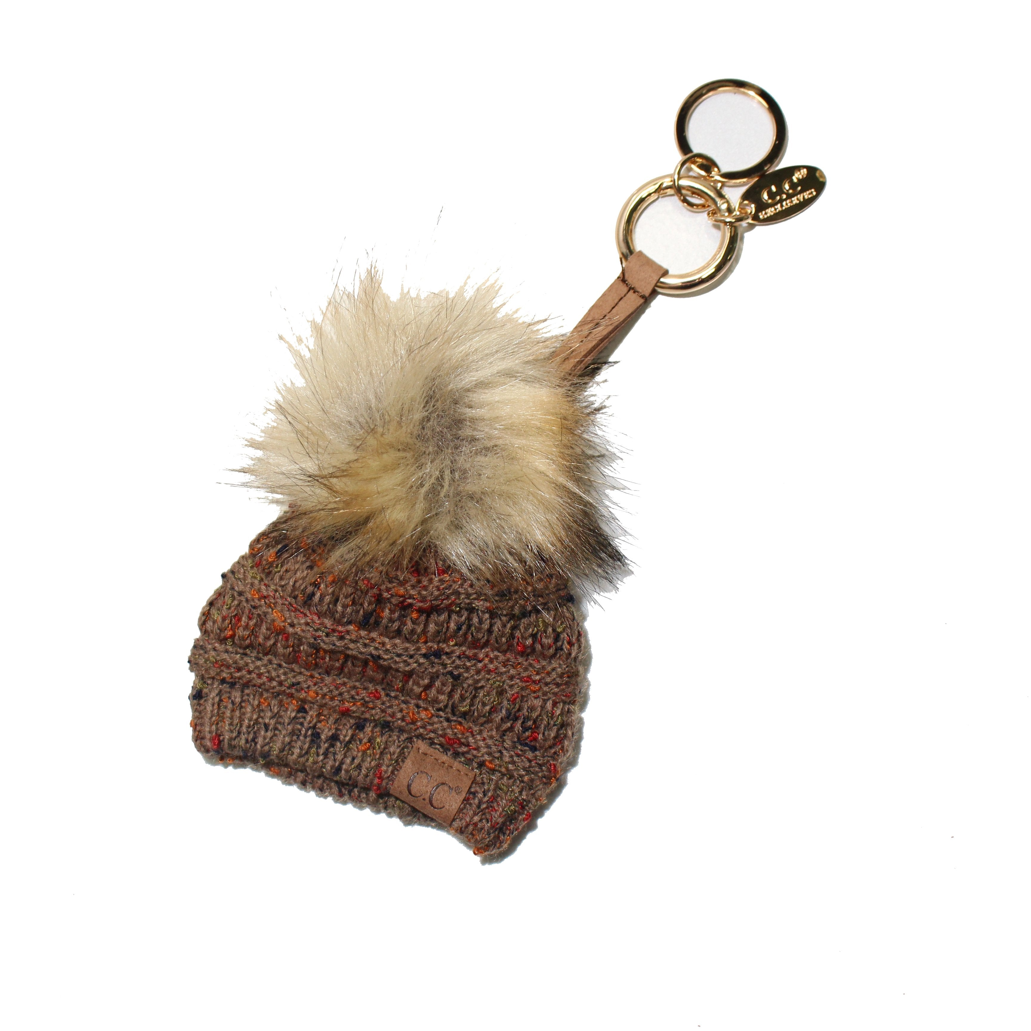 KB-33 Taupe Speckled Beanie Keychain