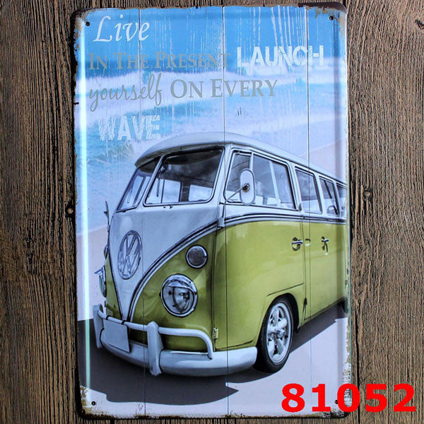 plaque vintage combi bus vw le precurseur. Black Bedroom Furniture Sets. Home Design Ideas