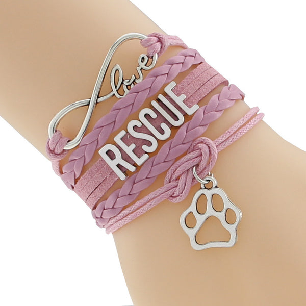 Infinity Love Doberman Rescue Dog Paw Bracelet- Cat Tiger Paw Print Animal Puppy Bracelet Bangle Leather Friend Gift F-CTSLB0186