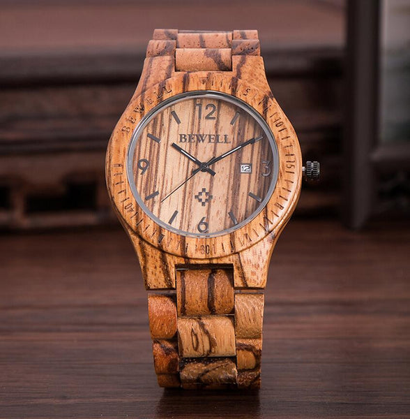 2016 New Fashion Arrival Men's Bamboo Wood Wristwatch Men Analog Quartz Movement Date Waterproof Male relogio with Wooden Box
