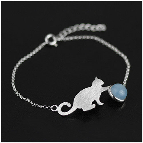 Newest 925 Sterling Silver Bracelets Handmade Jewelry Very Special Original Design Playing Cat Bracelet For Women Gift