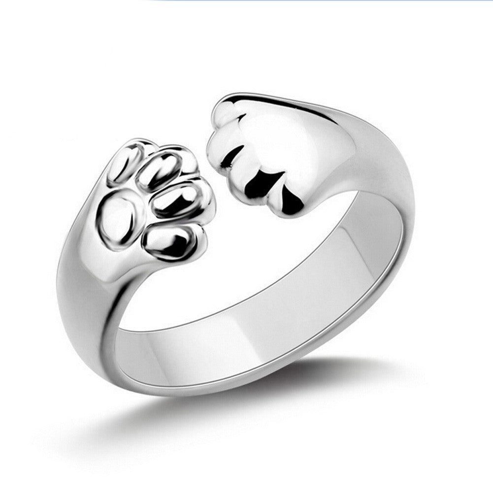 Crystal  Cat Claw Rings for Ladies with Silver Plated  as Gift For Women jewelry-Free shipping!