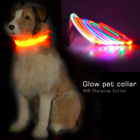 2016 Popular USB Luminous Dog Pet LED Collar Flashing Light USB Charging Collars Flash Night Safety Pet Supplies Chain Necklace