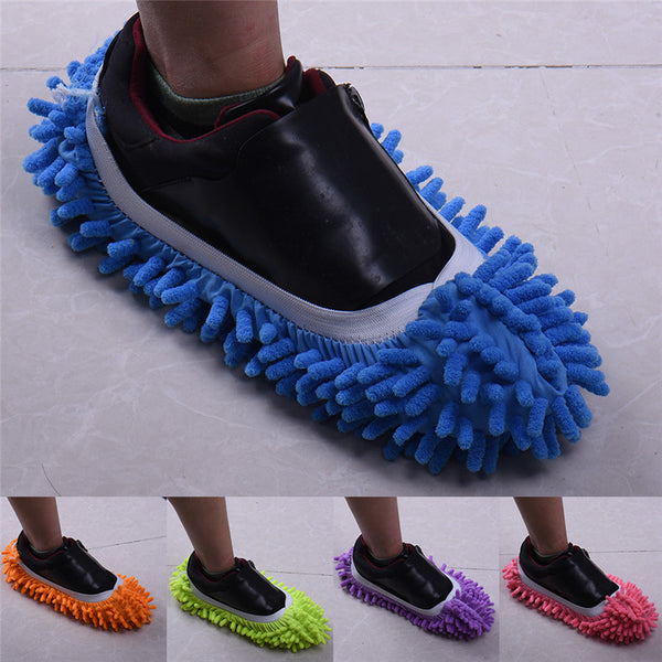 New Style 5 Colors 1pcs Multifunctional Chenille Micro Fiber Shoe Covers Clean Slippers Lazy Drag Shoes Mop Caps Household Tools