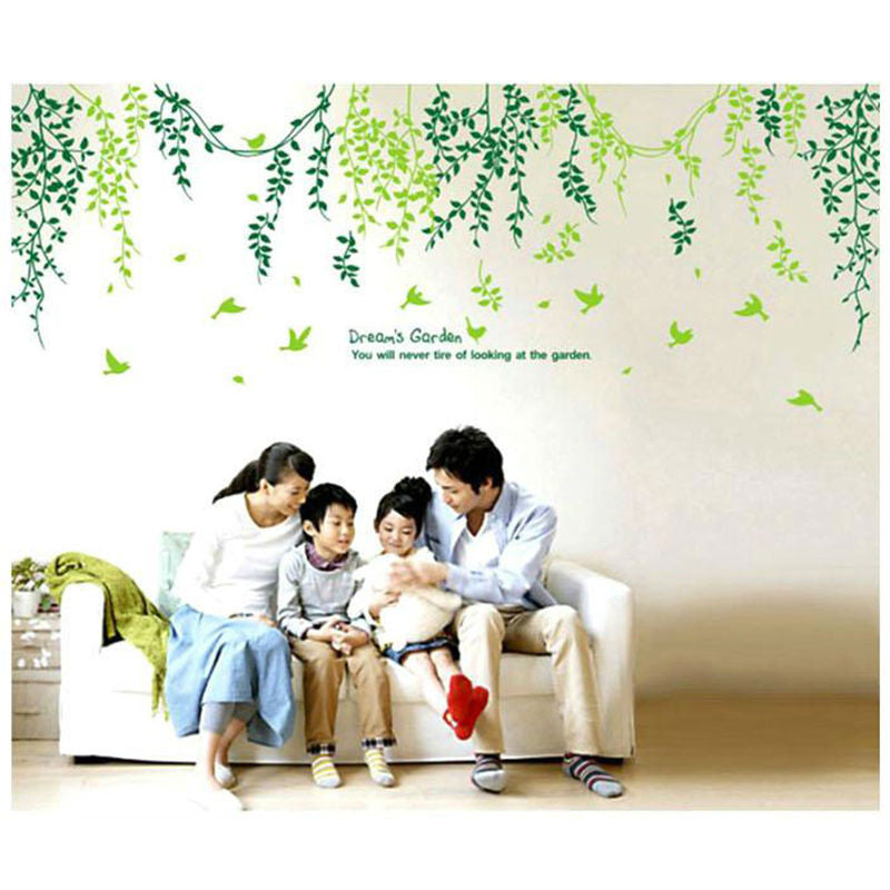 Green leaves fashion creative personality living room bathroom wall stickers waterproof high quality removable PVC stickers