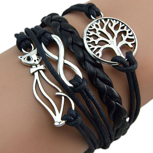 2016 Fashion Cute Designed Elephant Cat Charm Hand Chain Multilayer Leather Bracelet Bangle 8N2A-Free shipping!