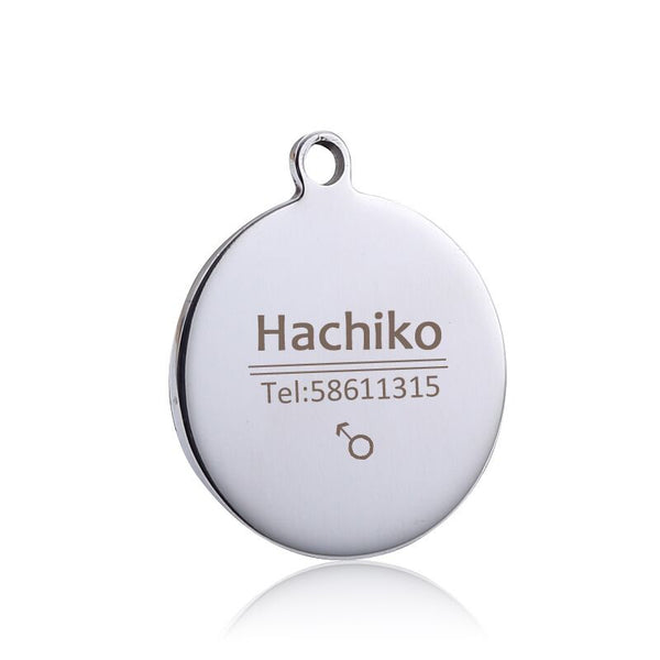 Free engraving multiple languages Pet cat dog collar accessories stainless steel  dog cat tag customized  tag name telephone  AA
