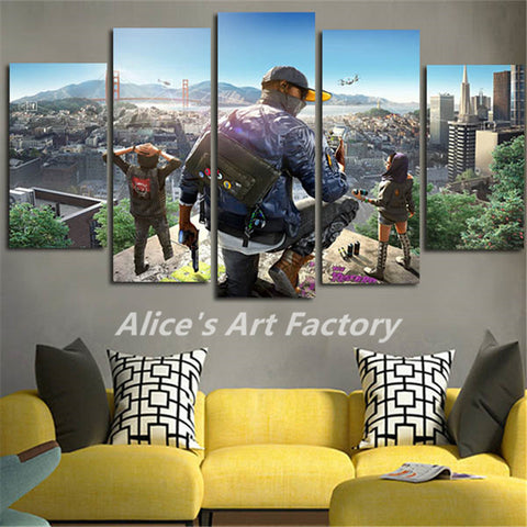 5Plane Wall Art Canvas Painting Cuadros Decoracion Watch Dogs 2 Movie Prints Poster Art Picture For Living Room Home Decor