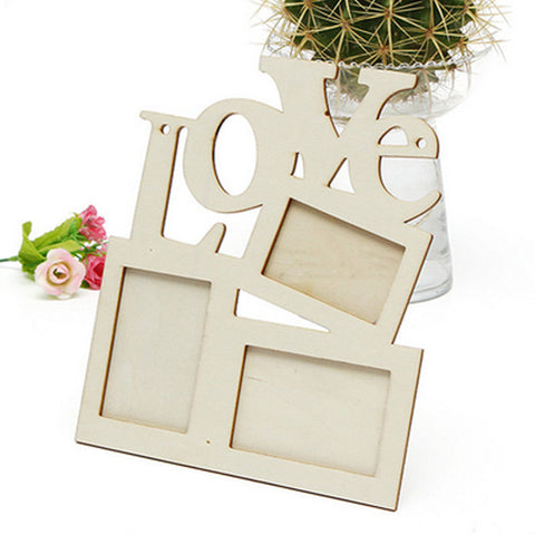 3 photos Wooden Hollow Love mdf Modern Wall Photo Frames Vintage Foto Picture Frame Frames Home Decor