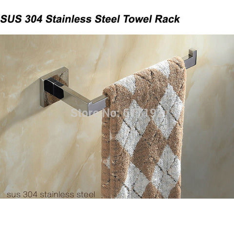 1pcs SUS 304 Stainless Steel Single Towel Bar Towel Rack Holder In The Bathroom Wall Mounted Towel Ring Free Shipping