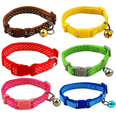 1pcs Dot Print Nylon Dog Puppy Cat Collars Multi Colors Cat Harness With Bell For Pet Small Animal Pets Supplies-Free shipping!