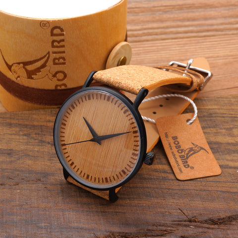 BOBO BIRD BWM019 Men's Cool Designer Green Hour Hands Bamboo Wooden Watches Real Leather Bands Watches for Men Wristwatch