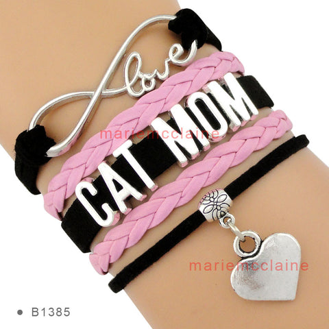 (10 Pieces/Lot) High Quality Infinity Love Cat Mom Heart Charm Bracelet Women's Fashion Wrap Bracelet Black Pink Custom-Free shipping!