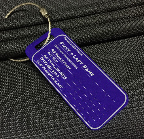 Small Custom Metal Travel Tag - Old School Style