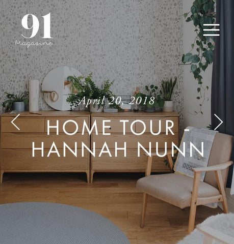 Hannah Nunn home tour in 91 Magazine