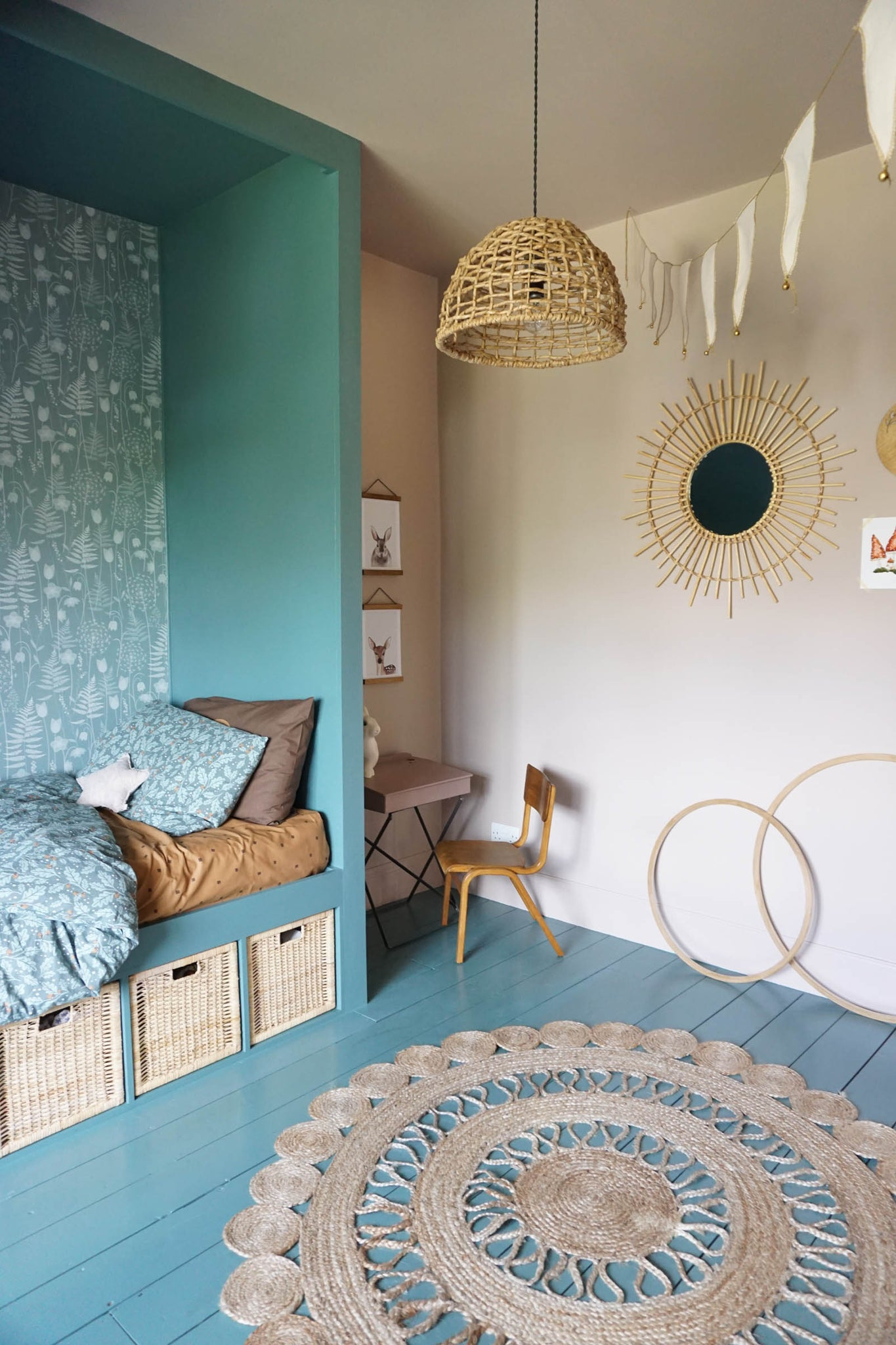 Cloe Gets Creative bedroom makeover with Hannah Nunn Charlottes Garden wallpaper