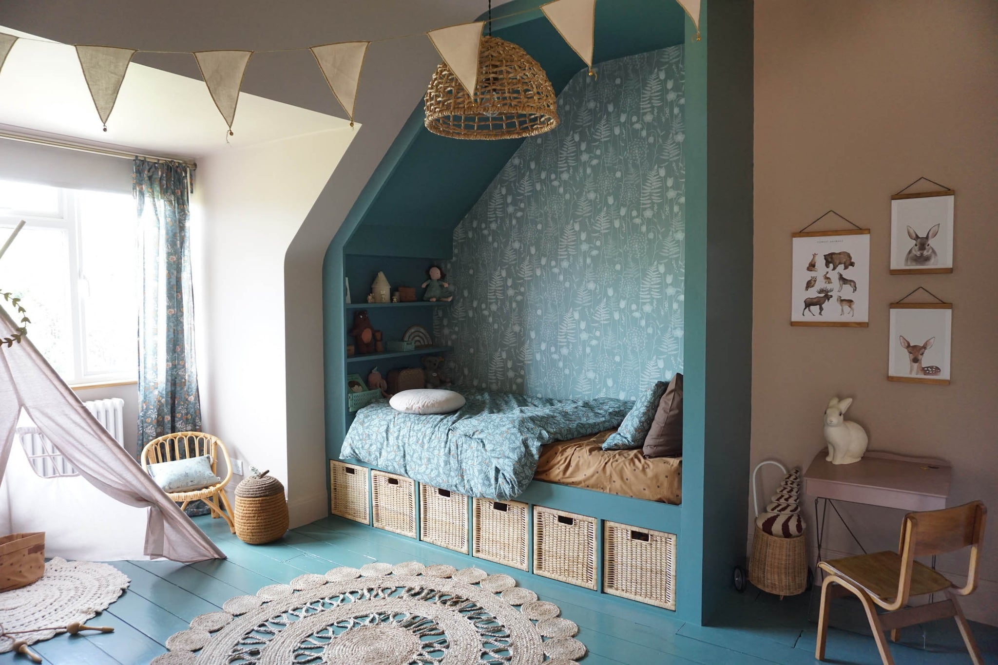 I'm delighted to have my Charlotte's Garden wallpaper (in heath) featured in one of Chloe Spilett's fabulous children's room makeovers.