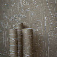 Paper Meadow Wallpaper in Kraft