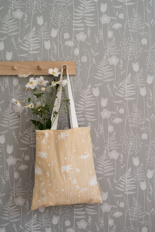 Daisy Meadow cotton tote bag in golden yellow