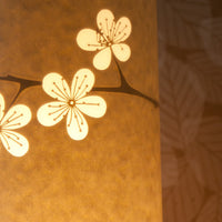 Cylindrical Cherry Blossom Table Lamp