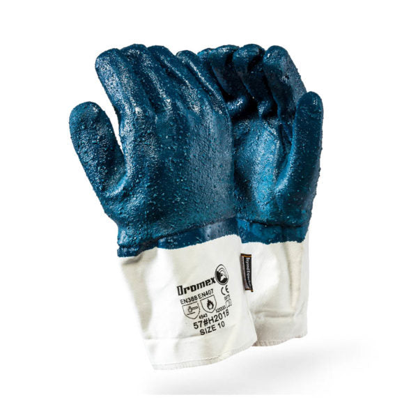 TaeKi5 NAVY ROUGH coated NITRILE, safety cuff, size 10 - Just Tools Pinetown (PTY) Ltd