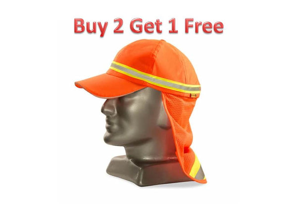 DROMEX ORANGE REFLECTIVE Baseball hat with neck protector