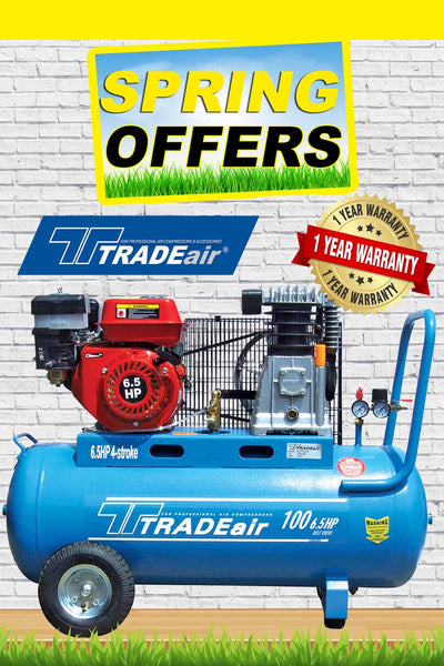 TRADEAIR PETROL BELT DRIVE COMPRESSOR 100LT 6.5HP 4 STROKE. - Just Tools Pinetown (PTY) Ltd