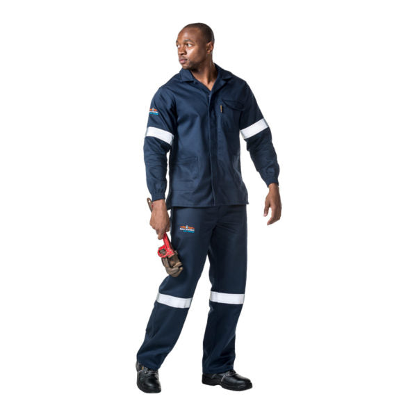 D59 Navy Blue Flame & Acid PANTS with Reflective - Just Tools Pinetown (PTY) Ltd