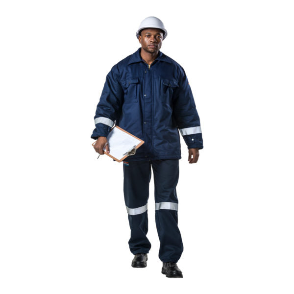 D59 Navy Blue Flame & Acid THERMAL JACKET - Just Tools Pinetown (PTY) Ltd