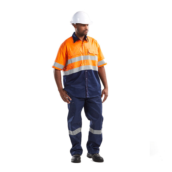 DROMEX reflective ORANGE/NAVY ventilated short sleeve shirt - Just Tools Pinetown (PTY) Ltd