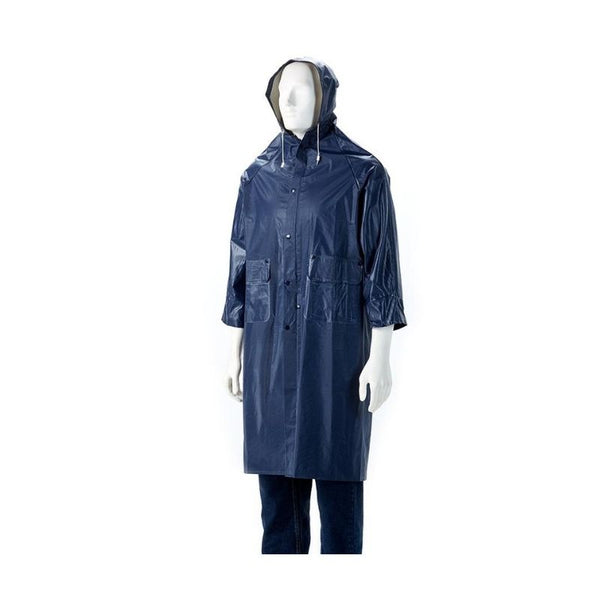 NAVY BLUE RUBBERIZED RAINCOAT, SMALL TO 4XL