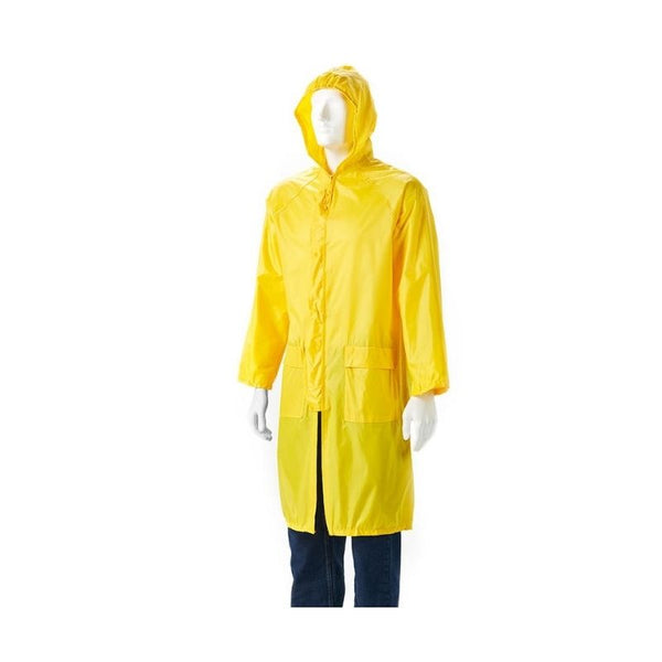 YELLOW RUBBERIZED RAINCOAT, SMALL TO 3XL