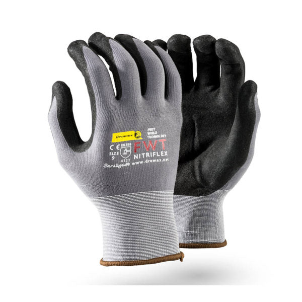 NITRIFLEX Black Sanitized PALM nitrile coated, 10 - Just Tools Pinetown (PTY) Ltd
