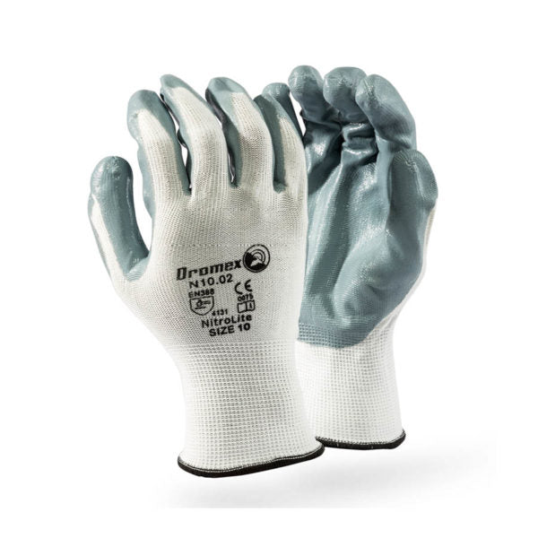 NITROLITE grey nitrile PALM coated on white shell, 10
